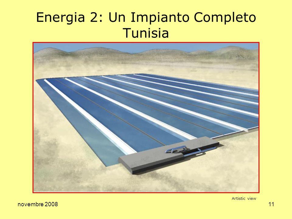 novembre 200812 Energia 3: Microeolico Attività in corso Studio comparativo delle tecnologie Sviluppo dei due modelli ad asse verticale e orizzontale Ottimizzazione del sistema Studio economico Artistic view