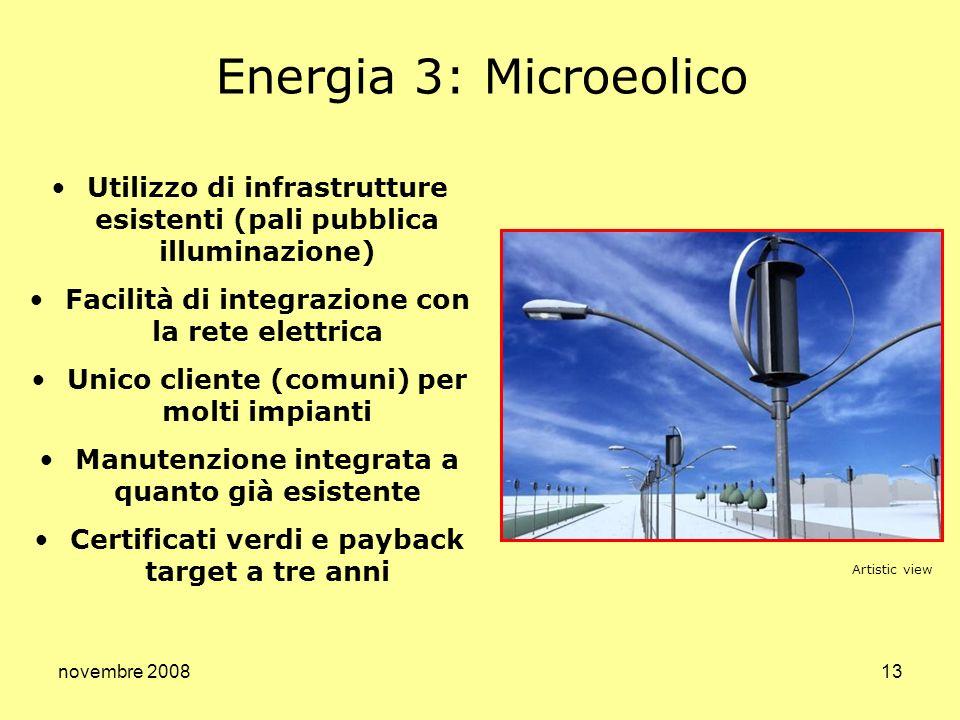 novembre 200813 Utilizzo di infrastrutture esistenti (pali pubblica illuminazione) Facilità di integrazione con la rete elettrica Unico cliente (comun