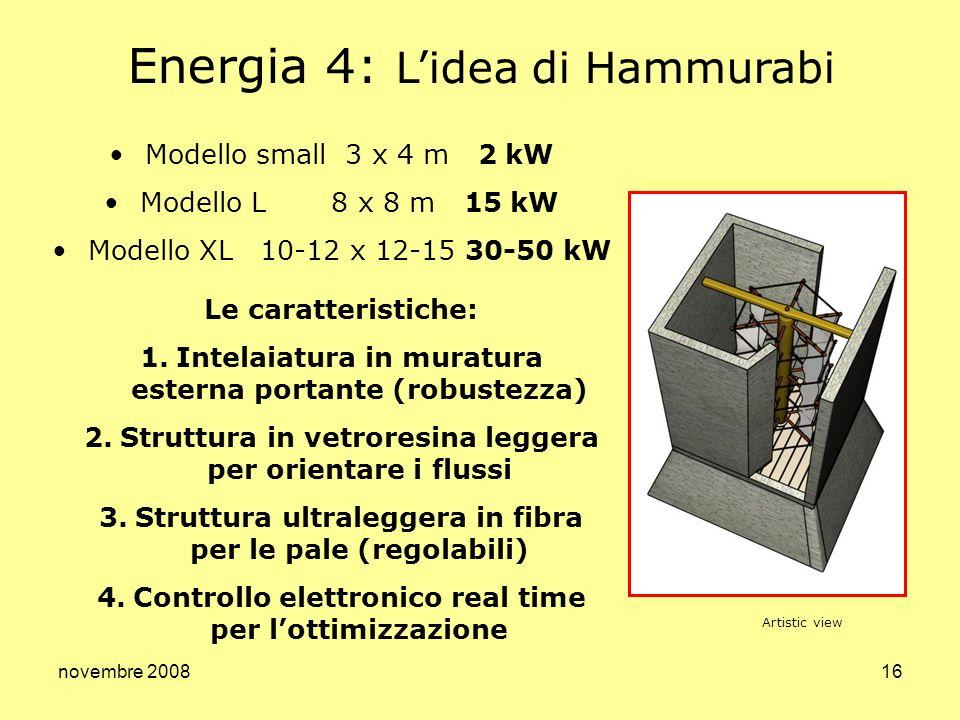 novembre 200816 Energia 4: Lidea di Hammurabi Modello small 3 x 4 m 2 kW Modello L 8 x 8 m 15 kW Modello XL 10-12 x 12-15 30-50 kW Le caratteristiche: