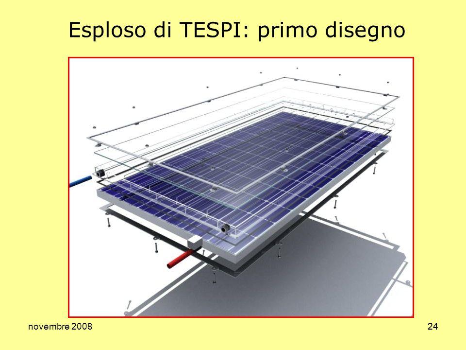 novembre 200825 Il sistema: prima versione TESPI montato: si noti lingombro molto simile a quello dei normali pannelli TESPI: in primo piano: si vedono le canalizzazioni