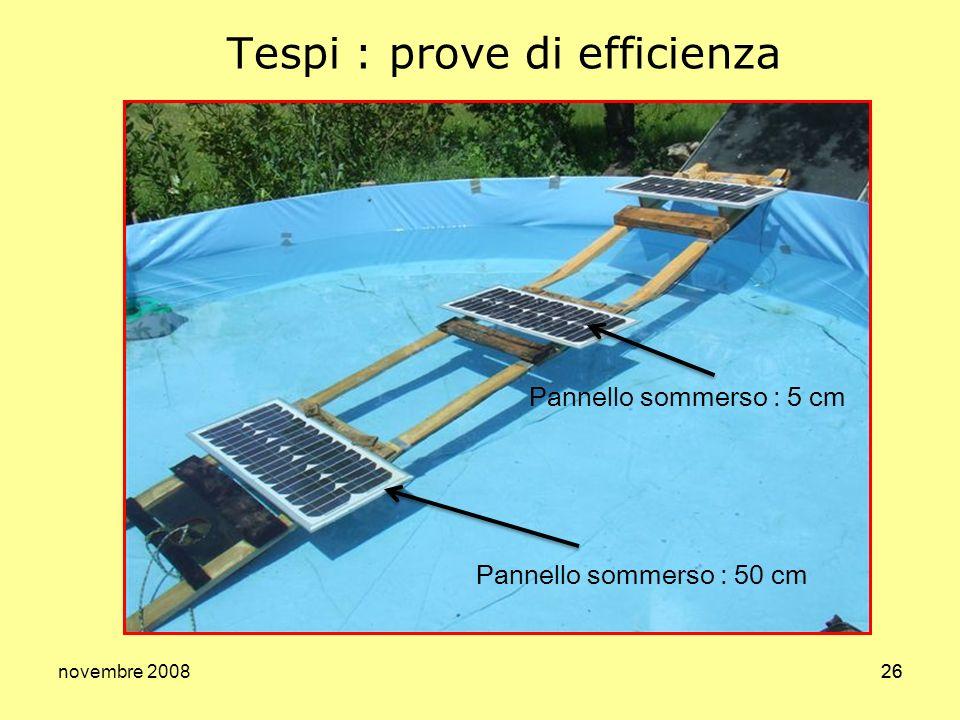 novembre 200826 Tespi : prove di efficienza Pannello sommerso : 50 cm Pannello sommerso : 5 cm