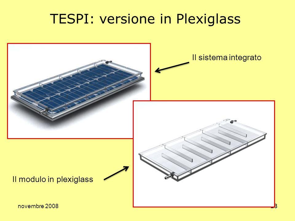 novembre 200828 TESPI: versione in Plexiglass Il sistema integrato Il modulo in plexiglass