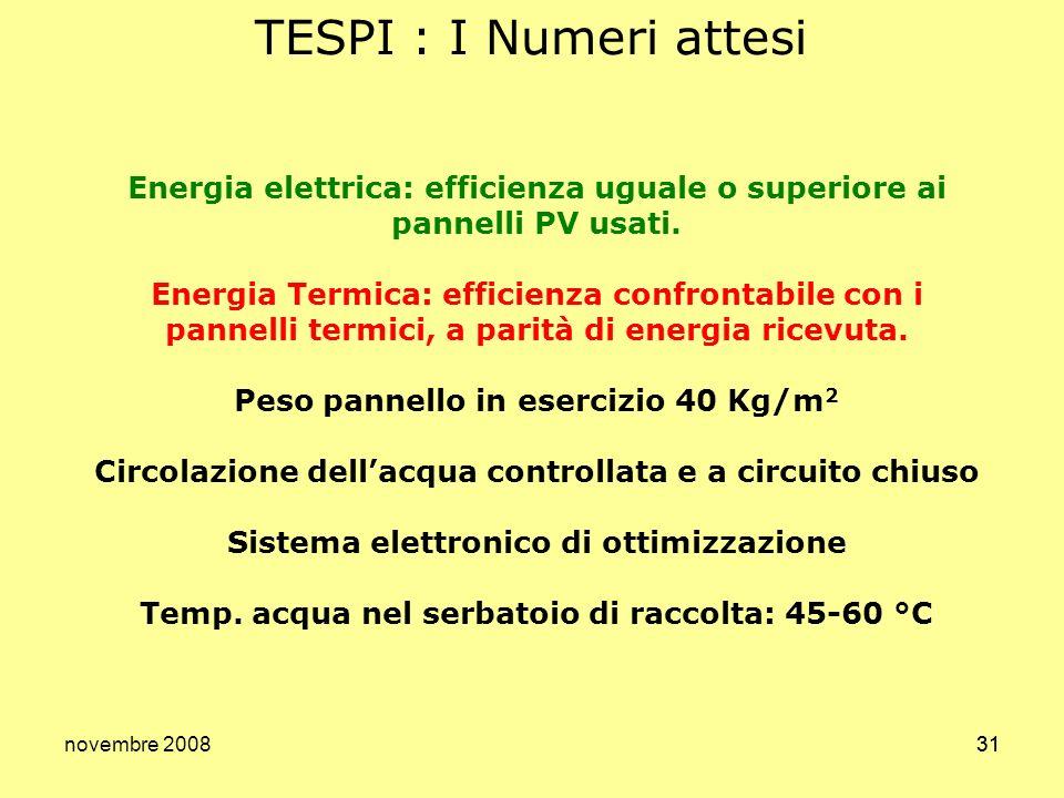 novembre 200831 TESPI : I Numeri attesi Energia elettrica: efficienza uguale o superiore ai pannelli PV usati. Energia Termica: efficienza confrontabi