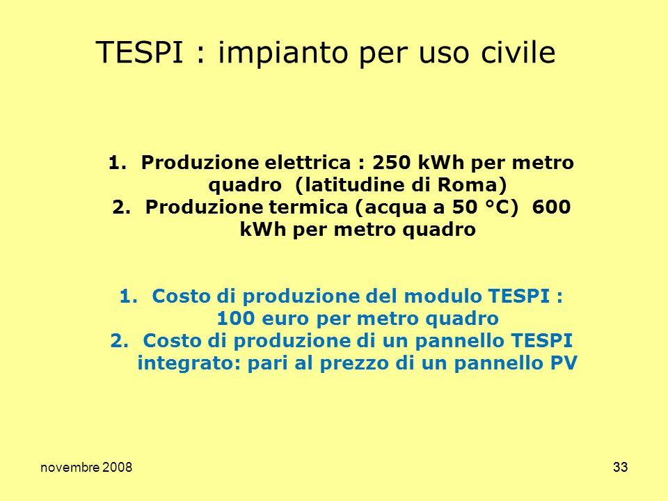 novembre 200833 TESPI : impianto per uso civile 1.Produzione elettrica : 250 kWh per metro quadro (latitudine di Roma) 2.Produzione termica (acqua a 5