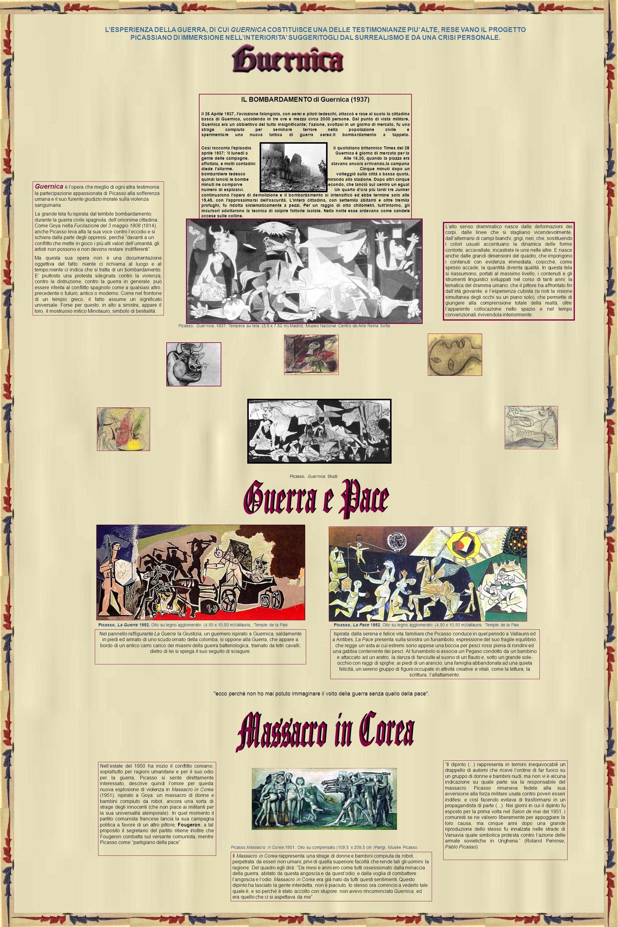 IL BOMBARDAMENTO di Guernica (1937) Il 26 Aprile 1937, l'aviazione falangista, con aerei e piloti tedeschi, attaccò e rase al suolo la cittadina basca