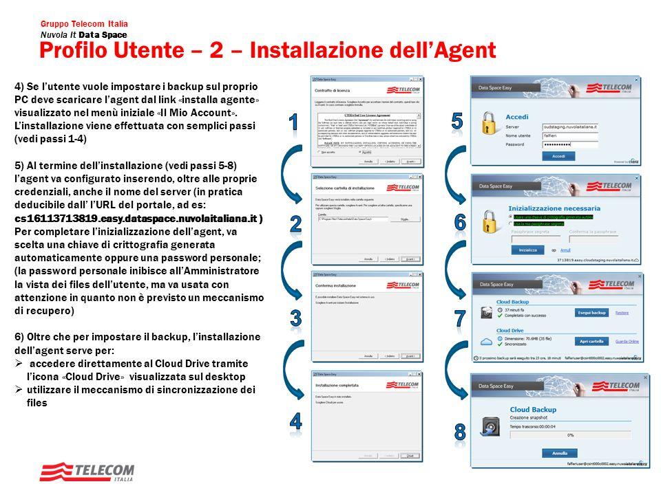 Gruppo Telecom Italia Nuvola It Data Space Backups Utente: Screenshot Visualizzazione Backup Visualizzazione del backup impostato Esplorazione e Download dei files di backup