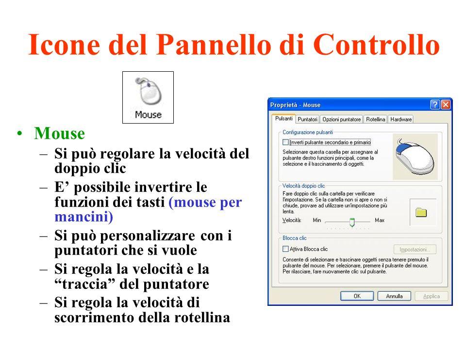 Icone del Pannello di Controllo Mouse –Si può regolare la velocità del doppio clic –E possibile invertire le funzioni dei tasti (mouse per mancini) –S