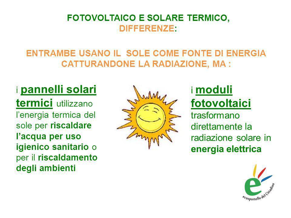 FOTOVOLTAICO E SOLARE TERMICO, DIFFERENZE: i moduli fotovoltaici trasformano direttamente la radiazione solare in energia elettrica i pannelli solari termici utilizzano lenergia termica del sole per riscaldare lacqua per uso igienico sanitario o per il riscaldamento degli ambienti ENTRAMBE USANO IL SOLE COME FONTE DI ENERGIA CATTURANDONE LA RADIAZIONE, MA :
