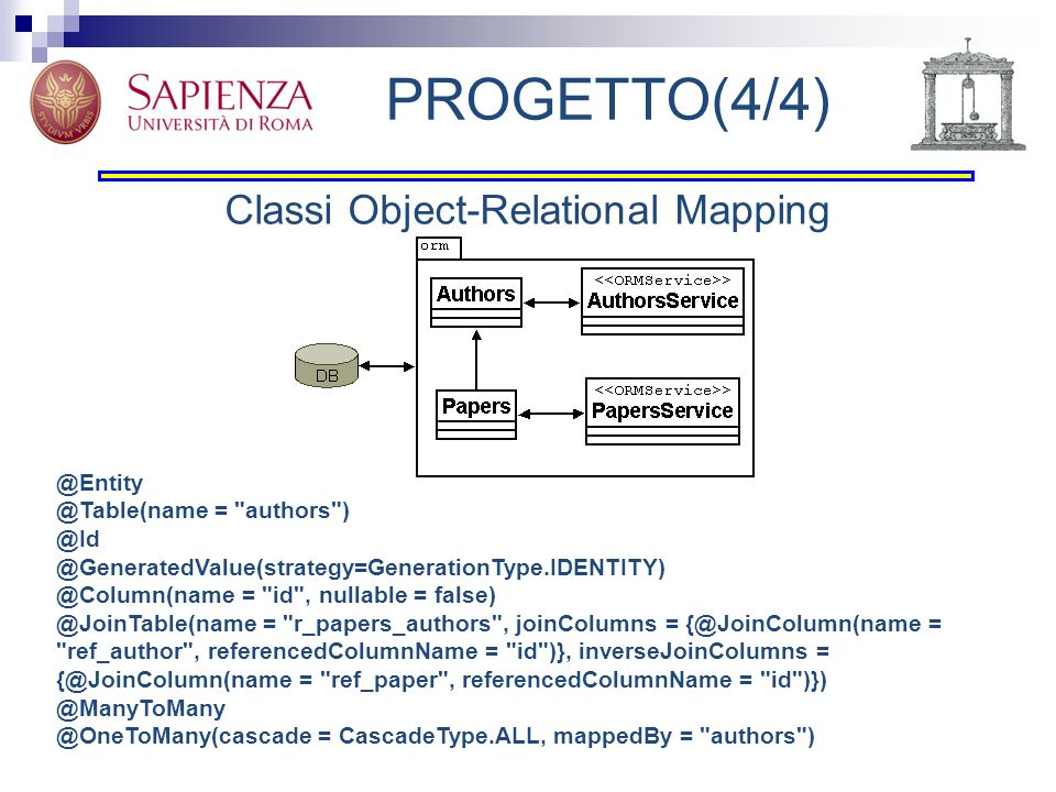 PROGETTO(4/4) Classi Object-Relational Mapping @Entity @Table(name =