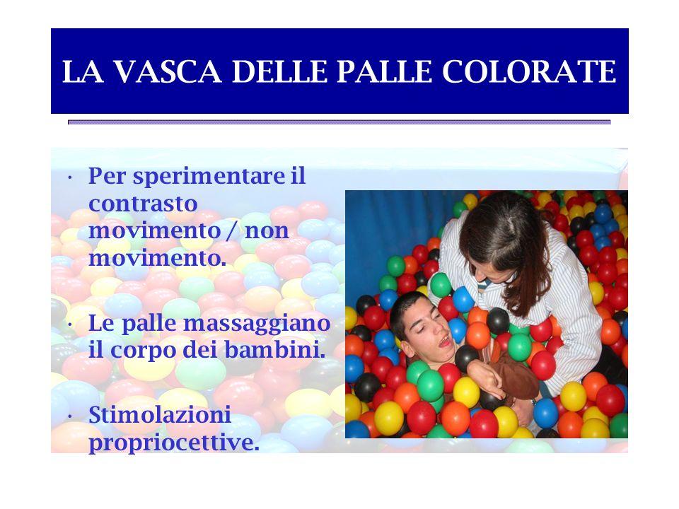 LA VASCA DELLE PALLE COLORATE Per sperimentare il contrasto movimento / non movimento. Le palle massaggiano il corpo dei bambini. Stimolazioni proprio