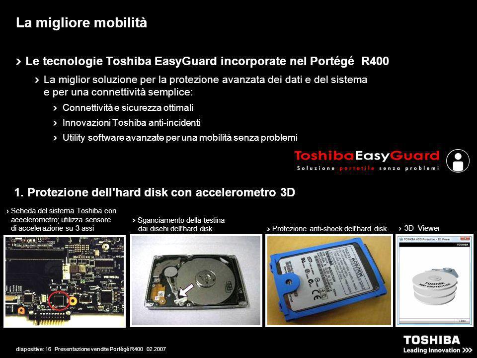 diapositive: 16 Presentazione vendite Portégé R400 02.2007 La migliore mobilità Le tecnologie Toshiba EasyGuard incorporate nel Portégé R400 La miglior soluzione per la protezione avanzata dei dati e del sistema e per una connettività semplice: Connettività e sicurezza ottimali Innovazioni Toshiba anti-incidenti Utility software avanzate per una mobilità senza problemi Scheda del sistema Toshiba con accelerometro; utilizza sensore di accelerazione su 3 assi Sganciamento della testina dai dischi dell hard disk Protezione anti-shock dell hard disk 3D Viewer 1.