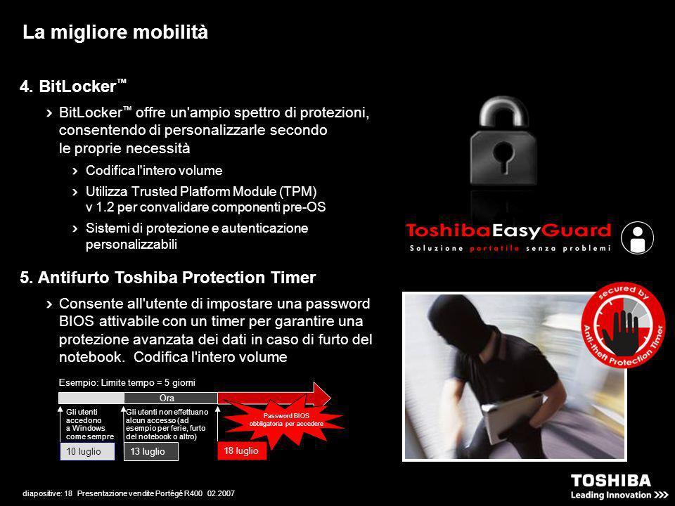 diapositive: 18 Presentazione vendite Portégé R400 02.2007 4. BitLocker BitLocker offre un'ampio spettro di protezioni, consentendo di personalizzarle