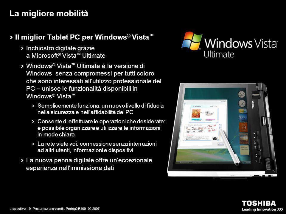 diapositive: 19 Presentazione vendite Portégé R400 02.2007 La migliore mobilità Il miglior Tablet PC per Windows ® Vista Inchiostro digitale grazie a