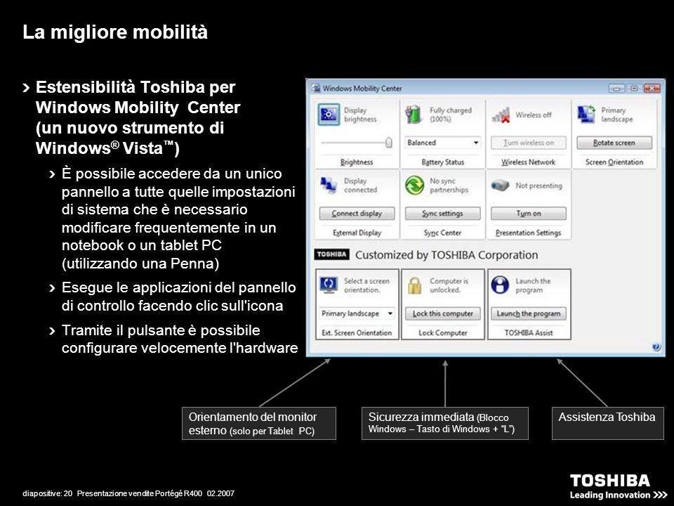 diapositive: 20 Presentazione vendite Portégé R400 02.2007 Estensibilità Toshiba per Windows Mobility Center (un nuovo strumento di Windows ® Vista )