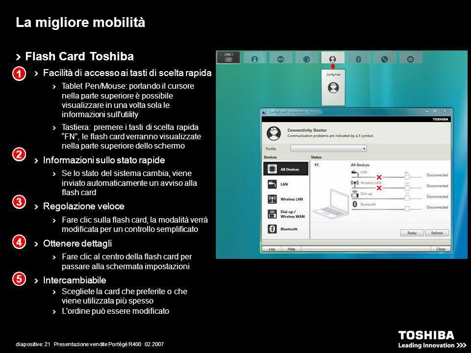 diapositive: 21 Presentazione vendite Portégé R400 02.2007 Flash Card Toshiba Facilità di accesso ai tasti di scelta rapida Tablet Pen/Mouse: portando il cursore nella parte superiore è possibile visualizzare in una volta sola le informazioni sull utility Tastiera: premere i tasti di scelta rapida FN, le flash card verranno visualizzate nella parte superiore dello schermo Informazioni sullo stato rapide Se lo stato del sistema cambia, viene inviato automaticamente un avviso alla flash card Regolazione veloce Fare clic sulla flash card, la modalità verrà modificata per un controllo semplificato Ottenere dettagli Fare clic al centro della flash card per passare alla schermata impostazioni Intercambiabile Scegliete la card che preferite o che viene utilizzata più spesso L ordine può essere modificato La migliore mobilità 1 2 3 4 5 1 2 3 4 5