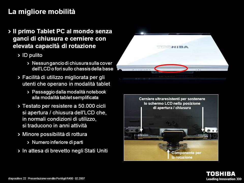 diapositive: 22 Presentazione vendite Portégé R400 02.2007 Il primo Tablet PC al mondo senza ganci di chiusura e cerniere con elevata capacità di rota