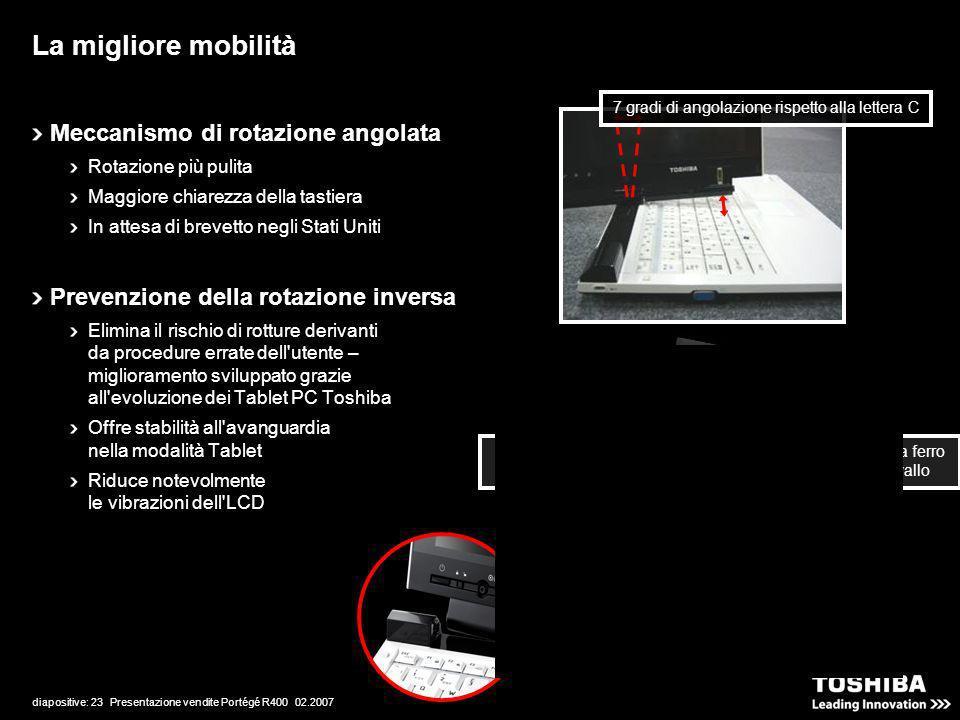 diapositive: 23 Presentazione vendite Portégé R400 02.2007 La migliore mobilità Meccanismo di rotazione angolata Rotazione più pulita Maggiore chiarez