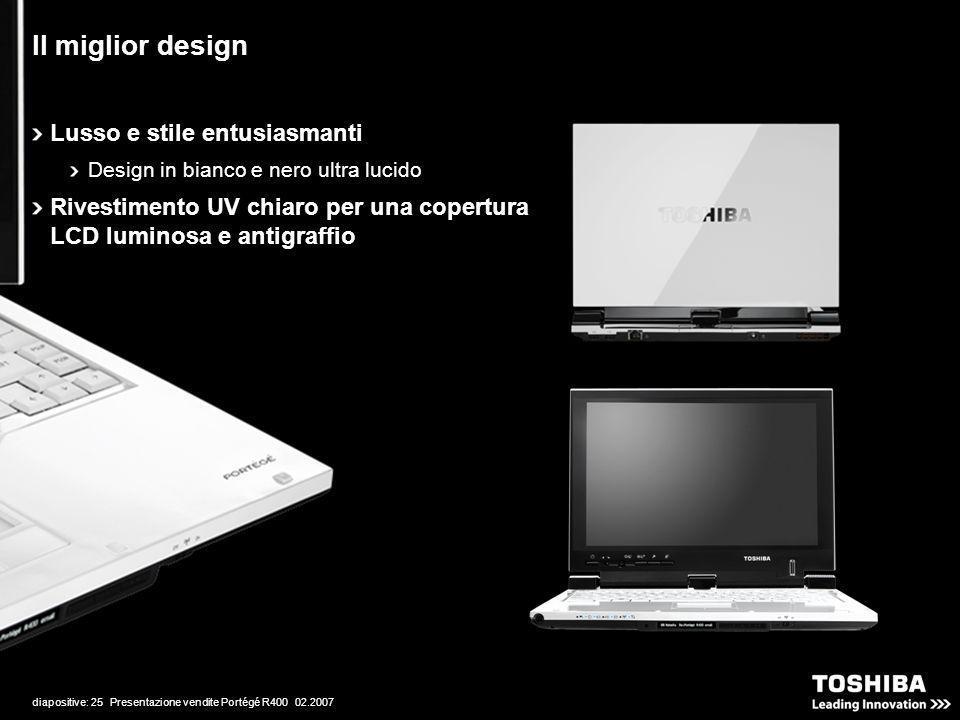 diapositive: 25 Presentazione vendite Portégé R400 02.2007 Il miglior design Lusso e stile entusiasmanti Design in bianco e nero ultra lucido Rivestimento UV chiaro per una copertura LCD luminosa e antigraffio