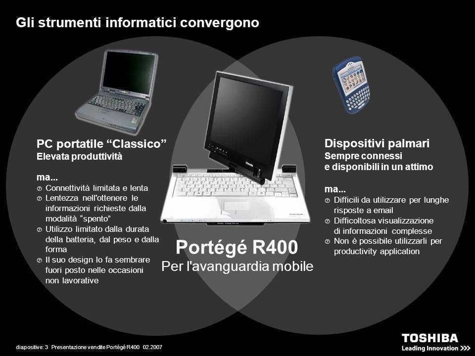 diapositive: 3 Presentazione vendite Portégé R400 02.2007 Per l'avanguardia mobile PC portatile Classico Elevata produttività ma... Connettività limit