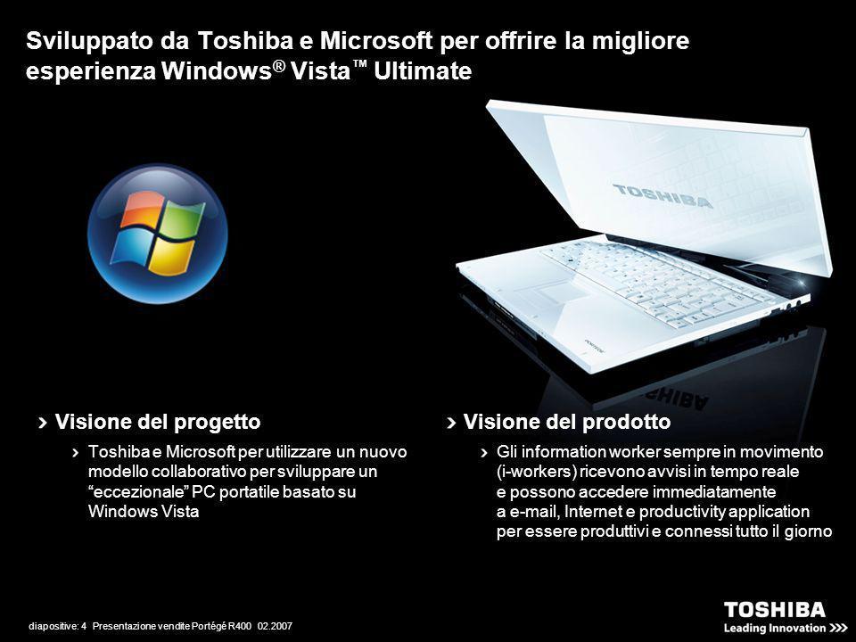 diapositive: 4 Presentazione vendite Portégé R400 02.2007 Sviluppato da Toshiba e Microsoft per offrire la migliore esperienza Windows ® Vista Ultimat