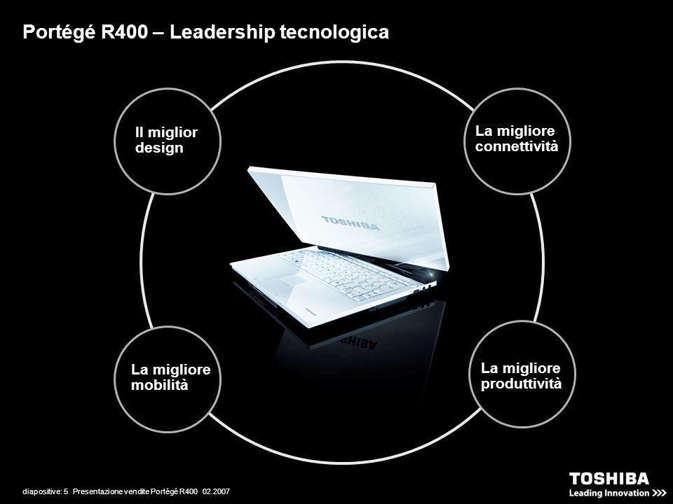 diapositive: 5 Presentazione vendite Portégé R400 02.2007 Portégé R400 – Leadership tecnologica La migliore connettività La migliore produttività Il m