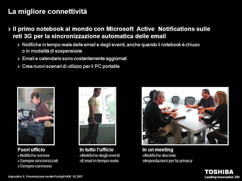 diapositive: 6 Presentazione vendite Portégé R400 02.2007 La migliore connettività Fuori ufficio Notifiche sonore Sempre sincronizzati Sempre connessi