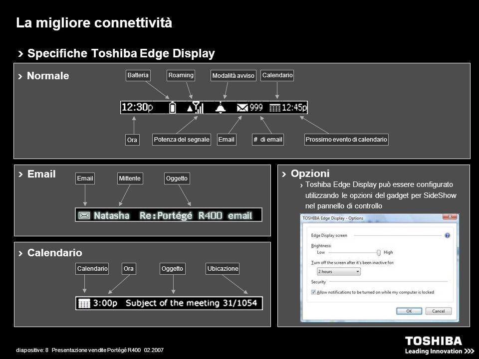 diapositive: 8 Presentazione vendite Portégé R400 02.2007 Specifiche Toshiba Edge Display La migliore connettività Opzioni Toshiba Edge Display può essere configurato utilizzando le opzioni del gadget per SideShow nel pannello di controllo Normale Potenza del segnaleProssimo evento di calendario# di emailEmail Modalità avviso Ora BatteriaRoamingCalendario Email MittenteOggetto Calendario UbicazioneOggettoOraCalendario
