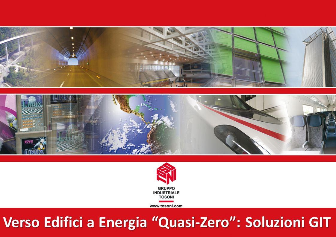 Villafranca, 2 agosto 2011 Verso Edifici a Energia Quasi-Zero: Soluzioni GIT produrre energia efficienza energetica Soluzioni del Gruppo Industriale Tosoni in campo energetico per produrre energia da fonti rinnovabili in edilizia + efficienza energetica per edifici e siti produttivi: Produzione ENERGIA da fonte rinnovabile: Sistemi FV integrati nellArchitettura (BIPV: Building Integrated PhotoVoltaics) Sistemi FV integrati nellArchitettura (BIPV: Building Integrated PhotoVoltaics) Alcuni esempi di realizzazioni Alcuni esempi di realizzazioni Riduzione dei consumi: Sistema per la gestione energetica efficiente di un edificio (FAR Echo) CONTABILIZZARE per RISPARMIARE Sistema per la gestione energetica efficiente di un edificio (FAR Echo) CONTABILIZZARE per RISPARMIARE Indice della Presentazione Indice della Presentazione