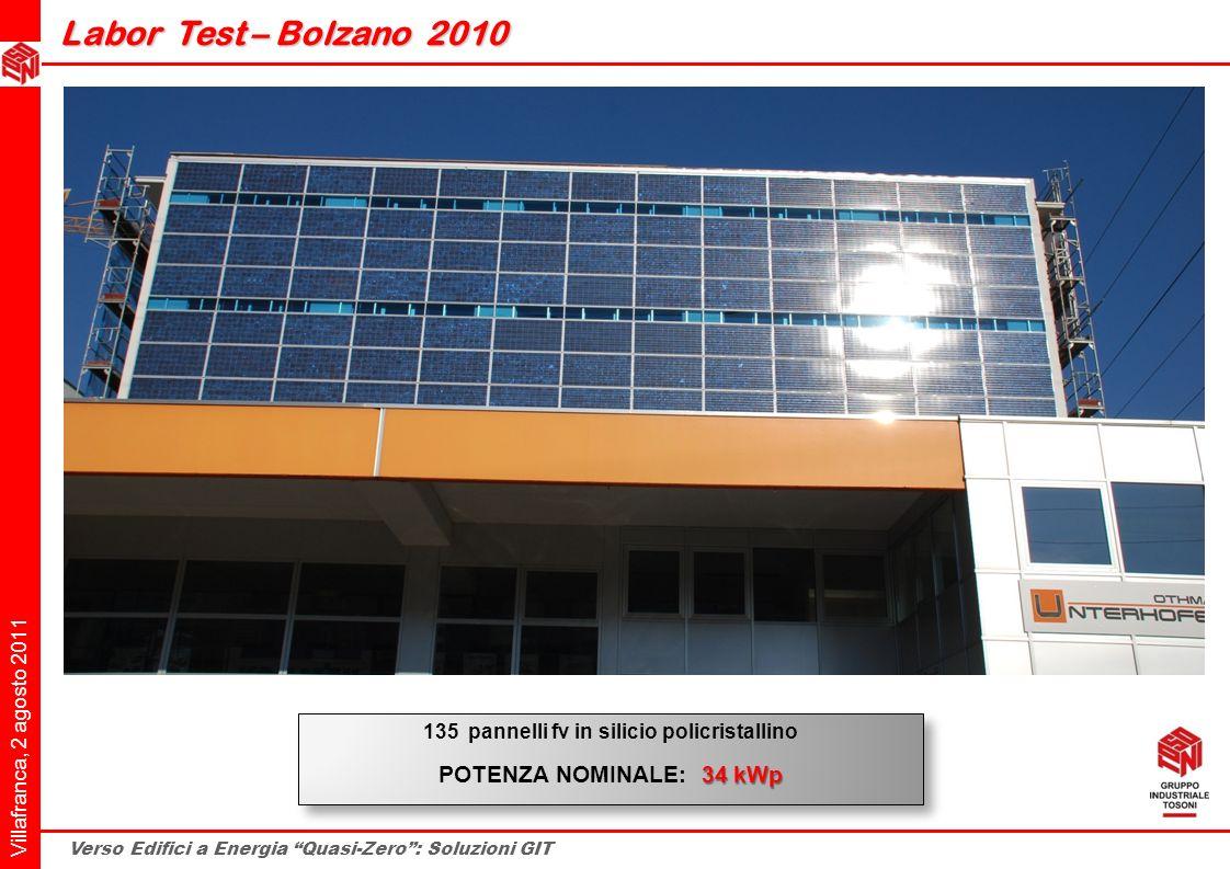 Villafranca, 2 agosto 2011 Verso Edifici a Energia Quasi-Zero: Soluzioni GIT Labor Test – Bolzano 2010 Labor Test – Bolzano 2010 135 pannelli fv in si
