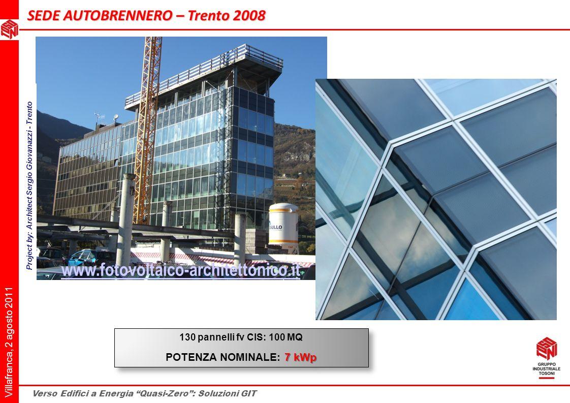 Villafranca, 2 agosto 2011 Verso Edifici a Energia Quasi-Zero: Soluzioni GIT 130 pannelli fv CIS: 100 MQ 7 kWp POTENZA NOMINALE: 7 kWp 130 pannelli fv