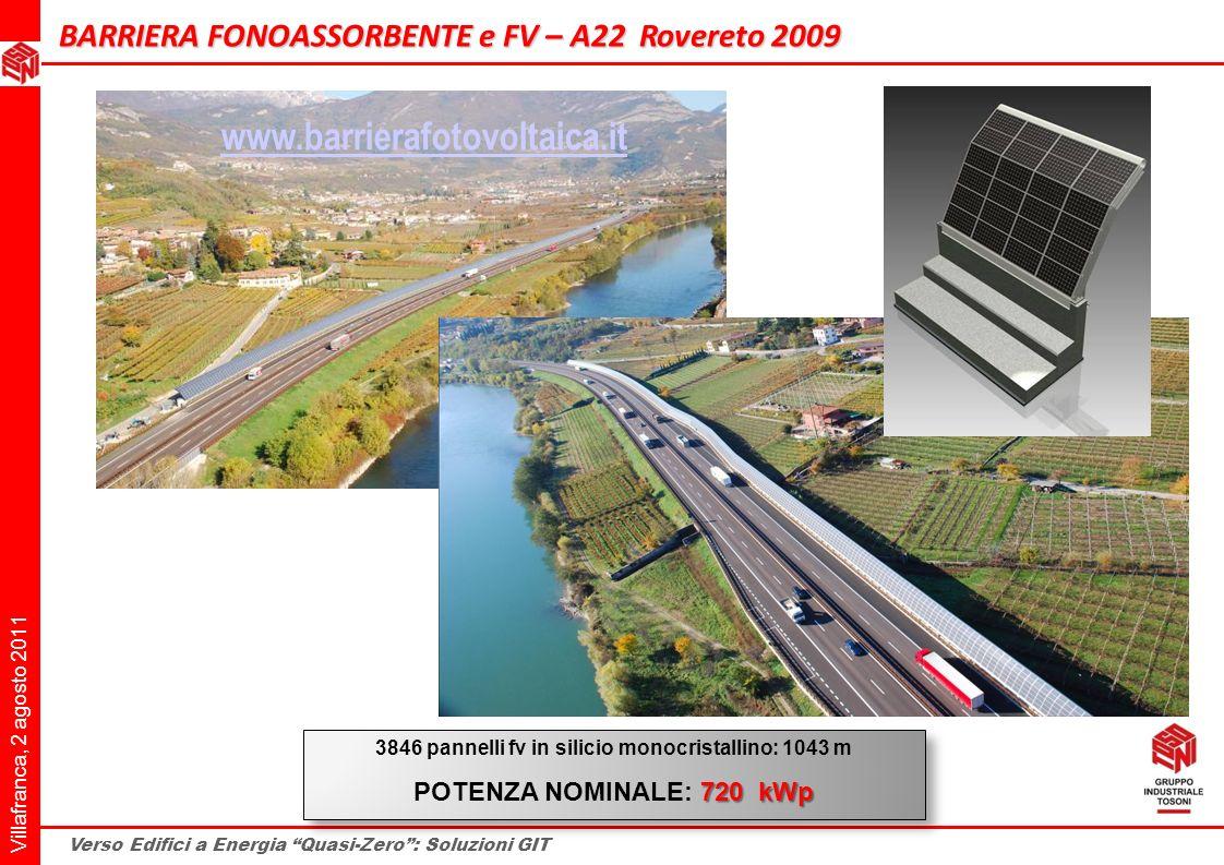 Villafranca, 2 agosto 2011 Verso Edifici a Energia Quasi-Zero: Soluzioni GIT BARRIERA FONOASSORBENTE e FV – A22 Rovereto 2009 3846 pannelli fv in sili