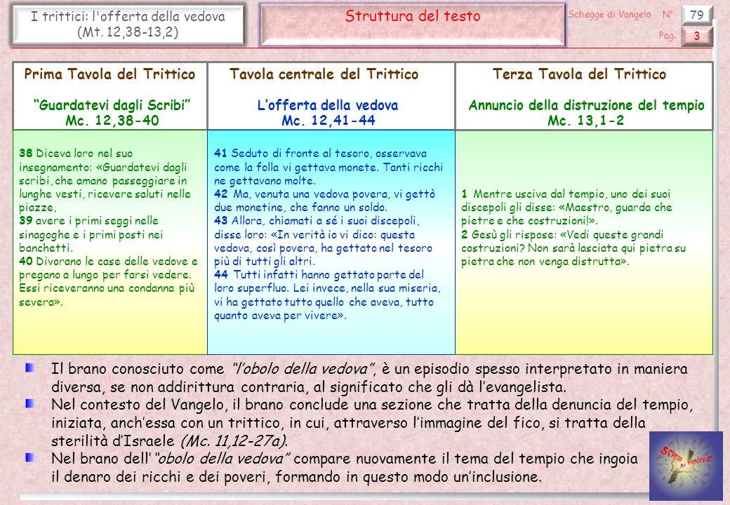 79 I trittici: l offerta della vedova (Mt.12,38-13,2) Guardatevi dagli scribi (1) 4 Pag.