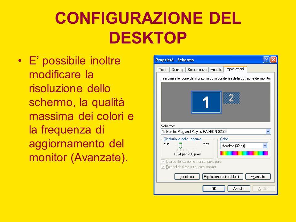 CONFIGURAZIONE DEL DESKTOP E possibile inoltre modificare la risoluzione dello schermo, la qualità massima dei colori e la frequenza di aggiornamento del monitor (Avanzate).