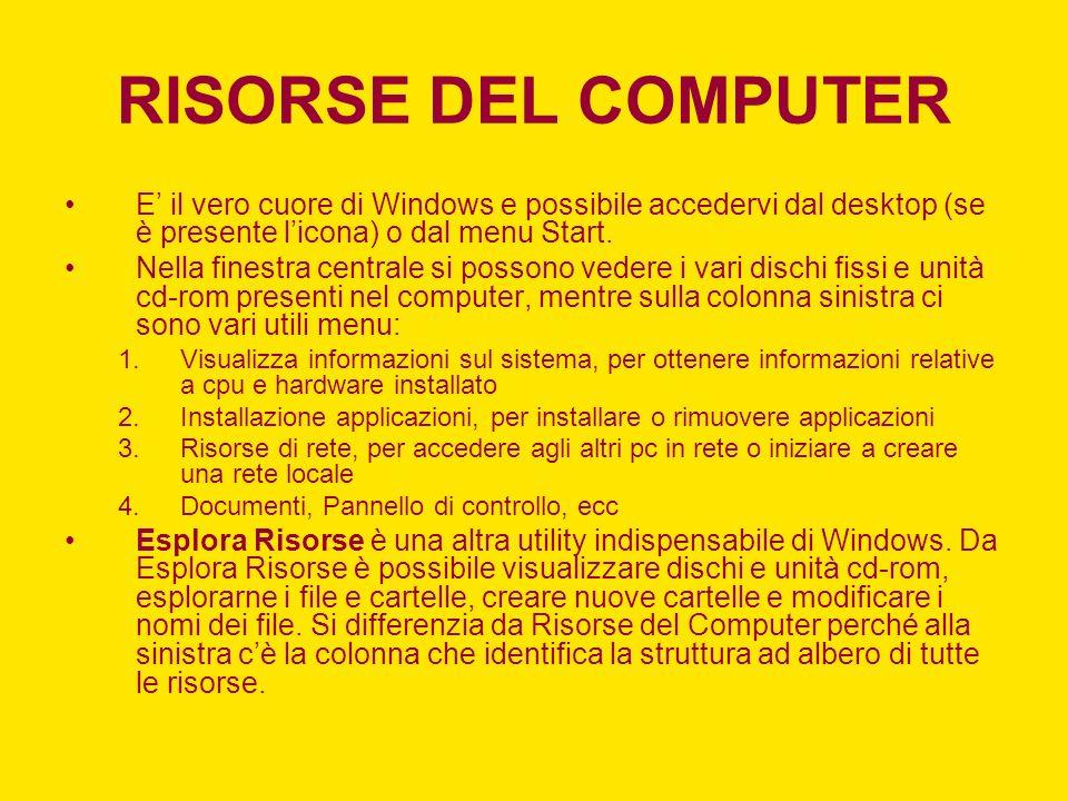RISORSE DEL COMPUTER E il vero cuore di Windows e possibile accedervi dal desktop (se è presente licona) o dal menu Start.