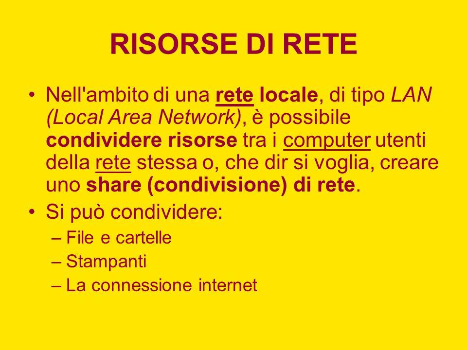 RISORSE DI RETE Nell ambito di una rete locale, di tipo LAN (Local Area Network), è possibile condividere risorse tra i computer utenti della rete stessa o, che dir si voglia, creare uno share (condivisione) di rete.