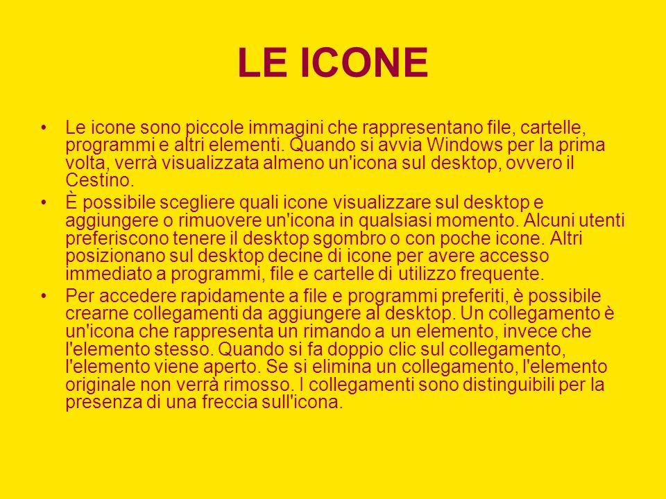 Le icone sono piccole immagini che rappresentano file, cartelle, programmi e altri elementi.