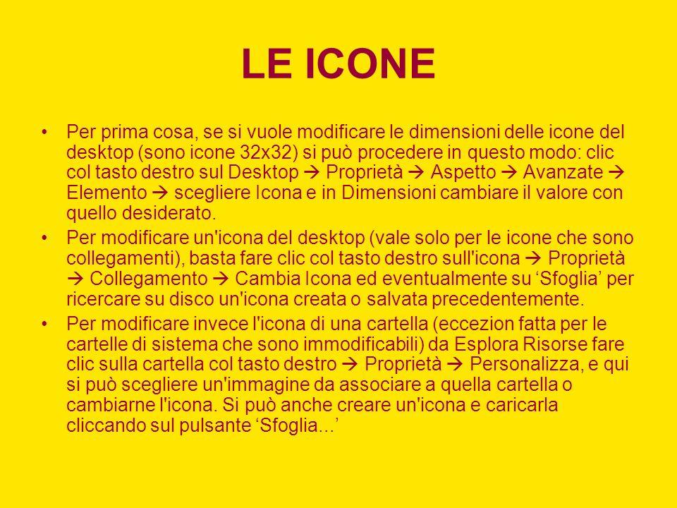 LE ICONE Per prima cosa, se si vuole modificare le dimensioni delle icone del desktop (sono icone 32x32) si può procedere in questo modo: clic col tasto destro sul Desktop Proprietà Aspetto Avanzate Elemento scegliere Icona e in Dimensioni cambiare il valore con quello desiderato.