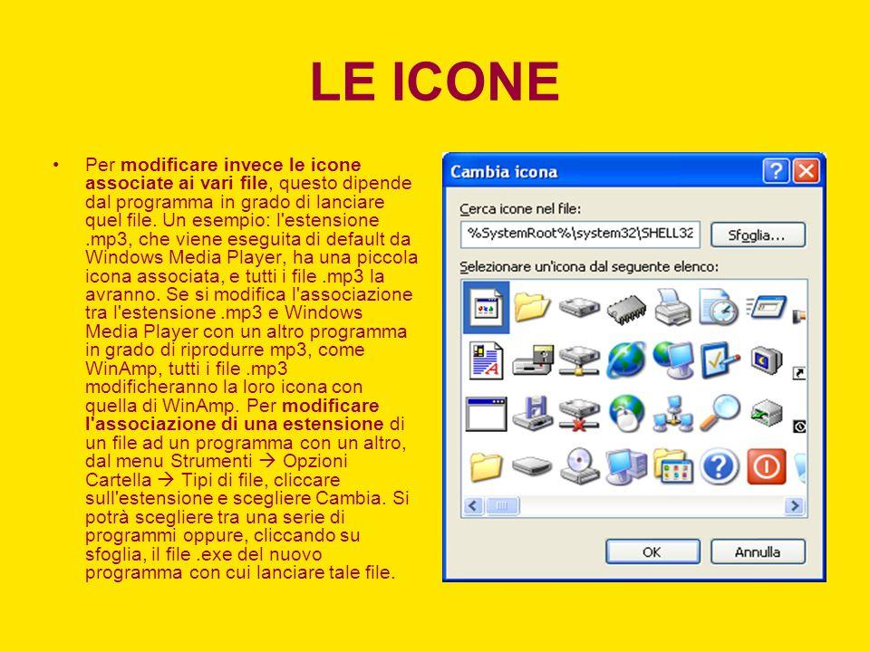 LE ICONE Per modificare invece le icone associate ai vari file, questo dipende dal programma in grado di lanciare quel file.