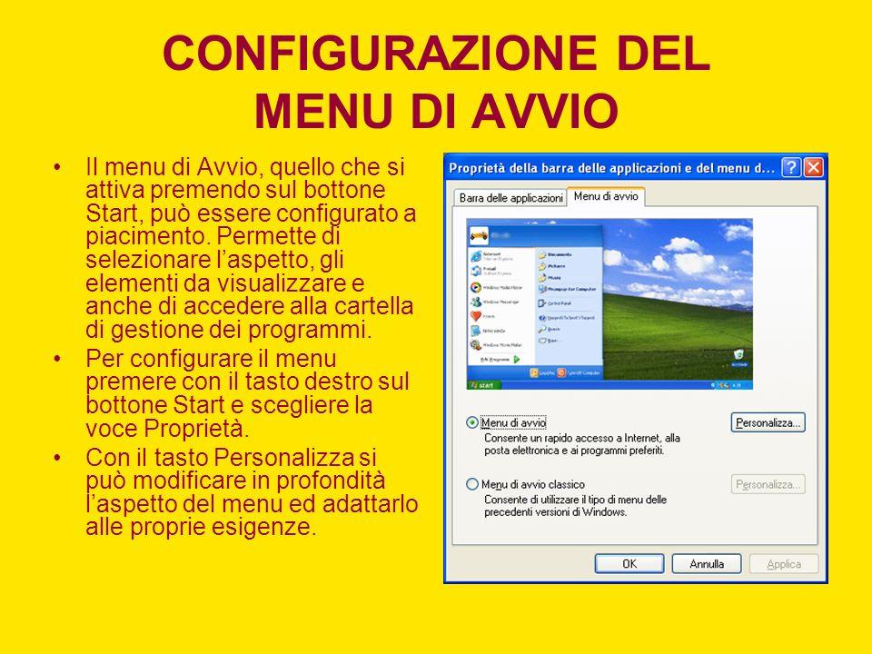 CONFIGURAZIONE DEL MENU DI AVVIO Il menu di Avvio, quello che si attiva premendo sul bottone Start, può essere configurato a piacimento.