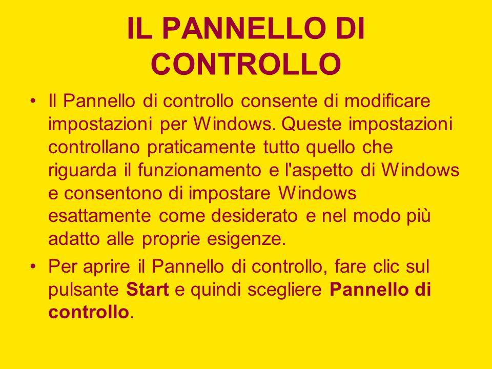 Il Pannello di controllo consente di modificare impostazioni per Windows.