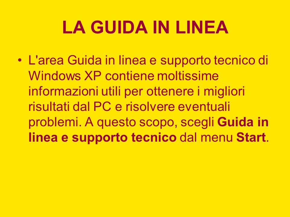 LA GUIDA IN LINEA L area Guida in linea e supporto tecnico di Windows XP contiene moltissime informazioni utili per ottenere i migliori risultati dal PC e risolvere eventuali problemi.