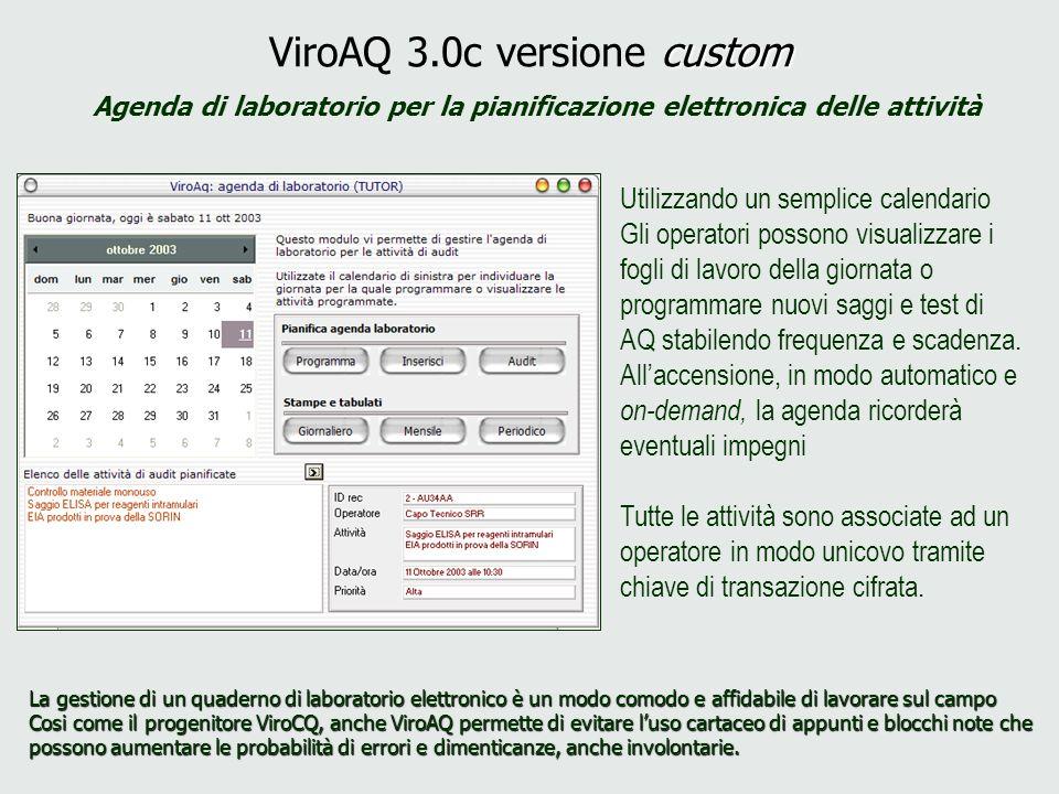 custom ViroAQ 3.0c versione custom Agenda di laboratorio per la pianificazione elettronica delle attività Utilizzando un semplice calendario Gli opera