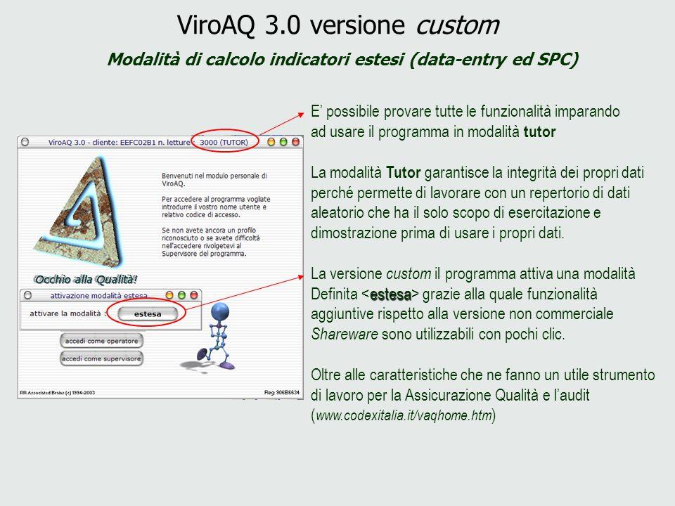 ViroAQ 3.0 versione custom Modalità di calcolo indicatori estesi (data-entry ed SPC) E possibile provare tutte le funzionalità imparando ad usare il p