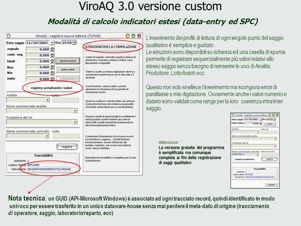 ViroAQ 3.0 versione custom Modalità di calcolo indicatori estesi (data-entry ed SPC) Linserimento dei profili di lettura di ogni singolo punto del sag