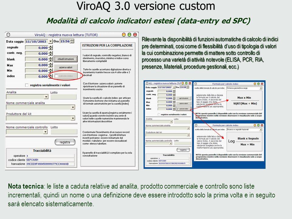 ViroAQ 3.0 versione custom Modalità di calcolo indicatori estesi (data-entry ed SPC) Rilevante la disponibilità di funzioni automatiche di calcolo di