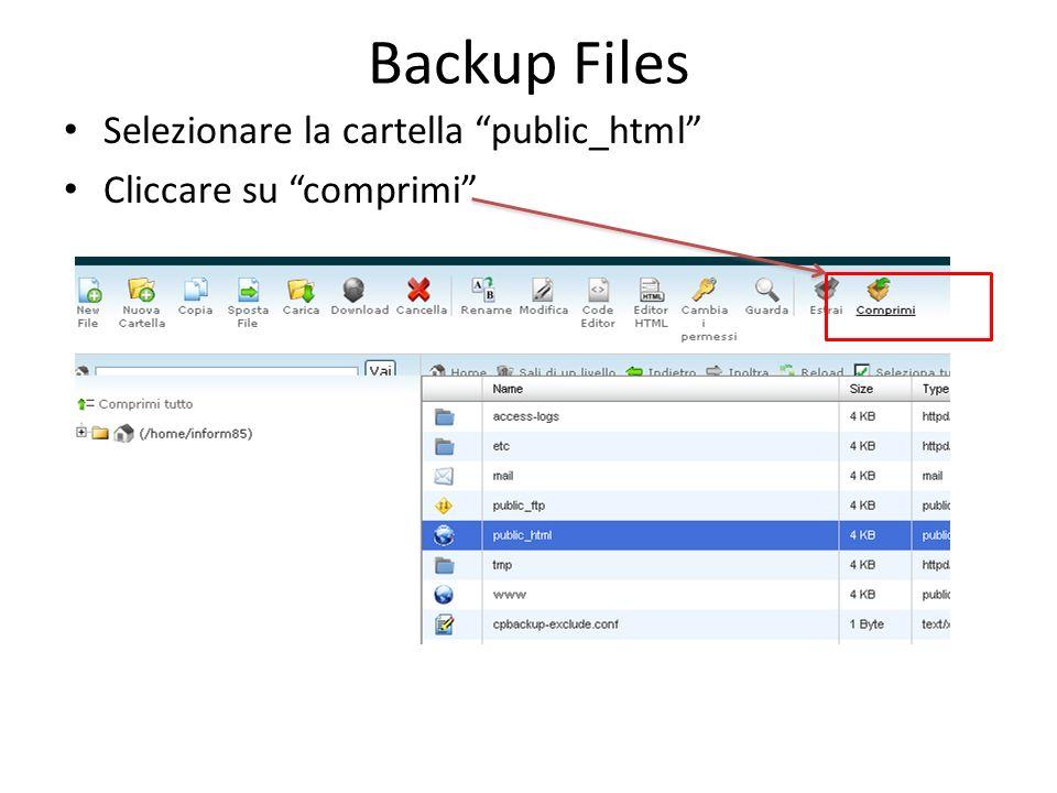 Backup Files Selezionare la cartella public_html Cliccare su comprimi