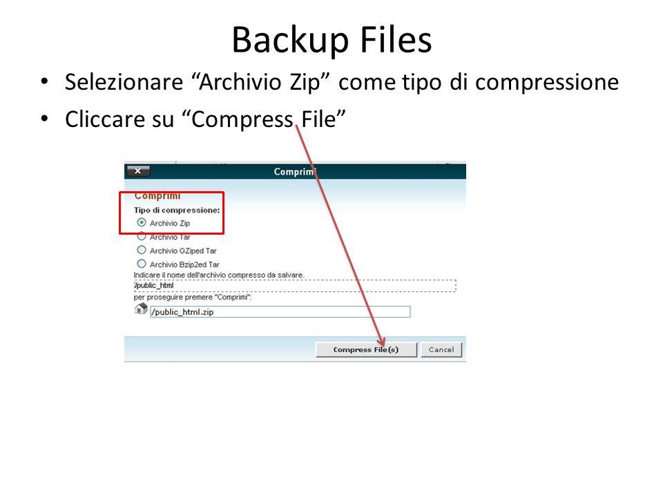 Backup Files Selezionare il file public_html.zip creato Cliccare su Download e salvare il file sul pc locale