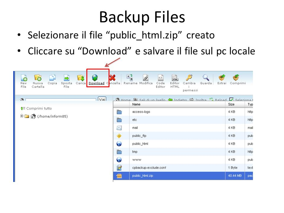 Backup Database Entrare in CPanel Nella sezione relativa al database, cliccare su phpMyAdmin