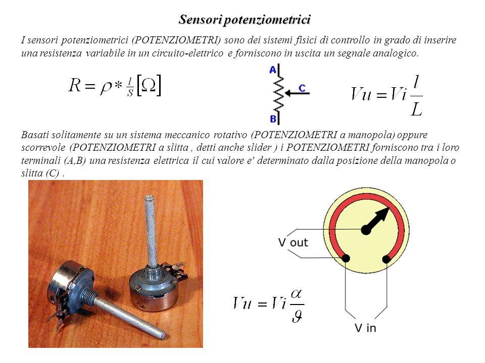 Sensori potenziometrici I sensori potenziometrici (POTENZIOMETRI) sono dei sistemi fisici di controllo in grado di inserire una resistenza variabile i