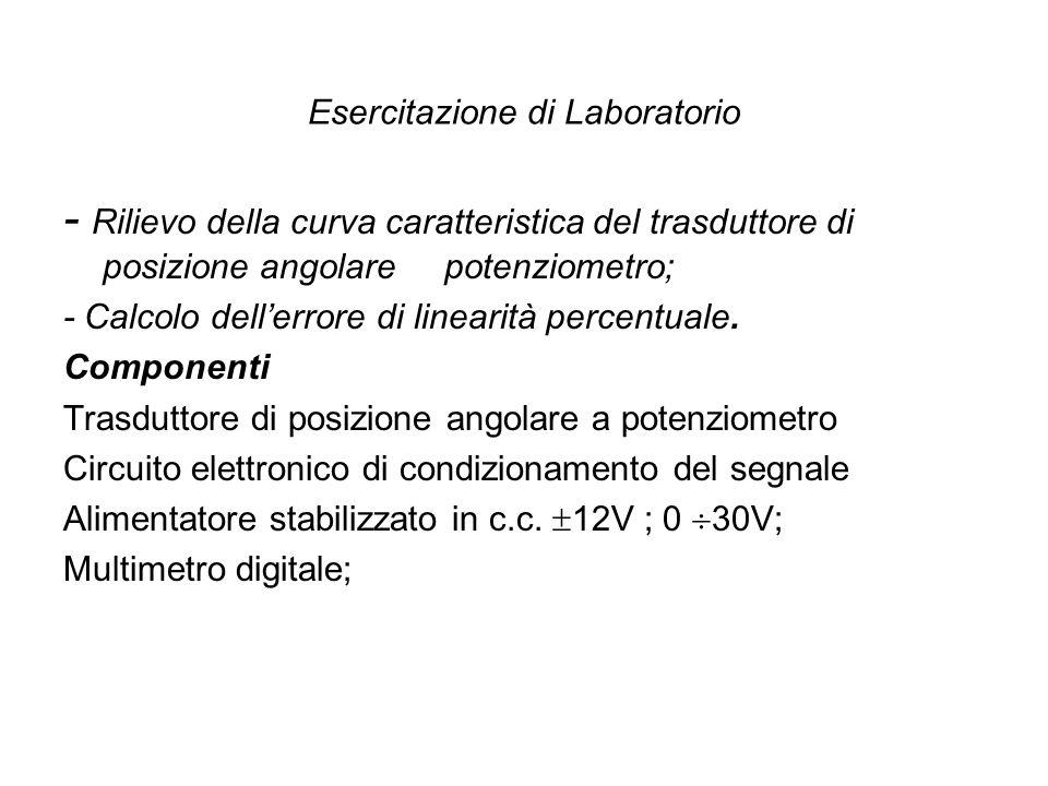 Esercitazione di Laboratorio - Rilievo della curva caratteristica del trasduttore di posizione angolare potenziometro; - Calcolo dellerrore di lineari